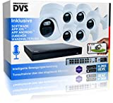 Video Surveillance Set Outdoor 4K Recorder 6 PoE IP67 Cameras with Microphone - 1000GB Festplatte