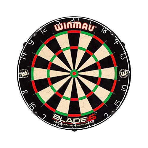 Winmau Blade 5 Dual Core Bristle Dartboard with Increased Scoring Area and Improved Dart Deflection for Reduced Bounce-Outs, BLACK WHITE RED