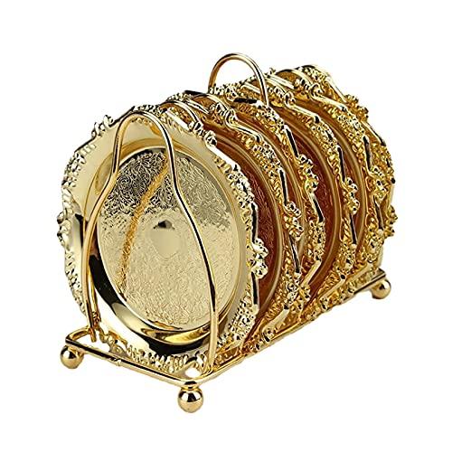 Sottobicchieri durevoli in metallo per soggiorno, ideali come regalo per l'inaugurazione della casa, per uso quotidiano, colore: oro