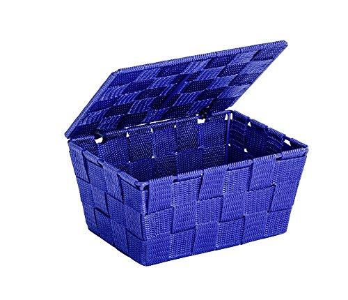 WENKO 22205100 Aufbewahrungskorb mit Deckel Adria Blau - Badkorb, Polypropylen, 19 x 10 x 14 cm