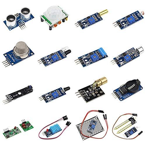 ADDFOO 16 im 1 Module Sensor Kit Projekt Super Starter Kits für R3 Mega2560 Mega328 Raspberry Pi 3 2