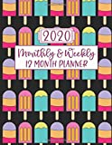 2020 Monthly & Weekly 12 Month Planner: Summer Popsicles Agenda Calendar for Jan 2020 to Dec 2020