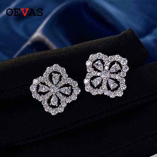 Home CNLXDSB Earring 925 Sterling Sparkling Full High Diamond Hollow Out Four Leaf Clover Stud Earrings For Women Fine Jewelry Gift for Women Girls