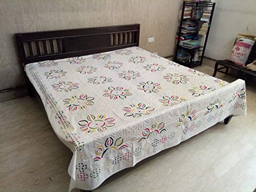 Save %44 Now! Beautiful White Cotton Bedsheet Embroidered Multicolor Flower Pattern with Applique Cu...