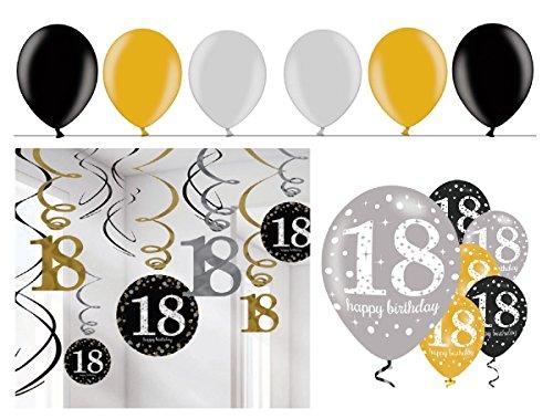 Feste Feiern Geburtstagsdeko 18. Geburtstag  24 Teile Deko-Set Spirale Swirl Girlande Luftballon Gold Schwarz Silber Party Set Happy Birthday 18