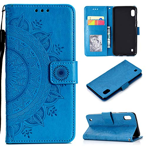 Snow Color Leder-Schutzhülle für Galaxy A10/M10 mit Standfunktion, stoßfest, Kartenfächer, Schutzhülle für Samsung Galaxy A10/M10