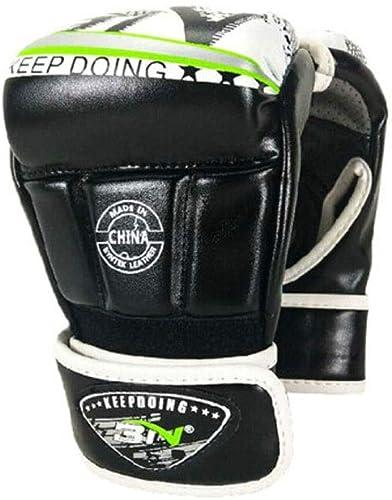 MUZIWENJU Gants de Boxe Demi-Doigts pour la Boxe, Gants de Combat Sanda, Ensembles de Boxe pour l'entraîneHommest au Combat pour Adultes, Haute qualité Tissu Durable de Haute qualité