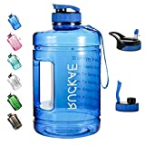 Water Bottle, RUCKAE 1 Gallon Water Bottle with Straw and One Replaceable Lids, 128OZ Motivational Water Bottle with Time Marker to Drink Enough Water Daily for Fitness, Outdoor (Blue)