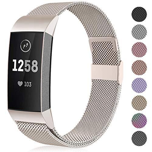 Funbiz Kompatible mit Fitbit Charge 3 Armband/Fitbit Charge 4 Armband, Metall Edelstahl Ersatzarmband Kompatibel mit Fitbit Charge 3/Charge 4/Charge 3 SE, Damen Herren Groß Vintage Gold
