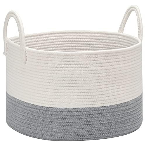 DOKEHOM Großen Faltbare Wäschekörbe, Zusammenklappbaren Tunnelzug Wasserdicht Leinwand Cotton Lagerung Körbe Hemmen 15.7 Inches(D) x 9.8 Inches(H) (Weiß/Grau, M) EINWEG