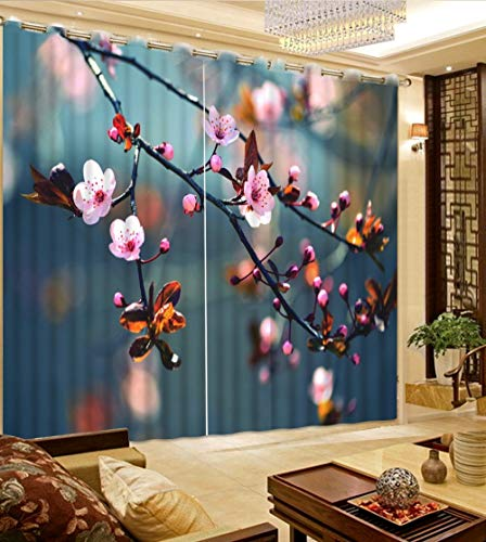 KUKUALE Multiple Size 2 Tablets Window Blackout Curtain Livingroom Curtains Flower Branch 3D Curtains for Bedroom 3D Window Curtains Home Decor1