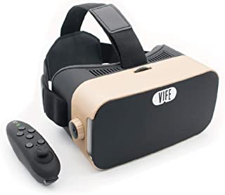 VIFE, Virtual Reality Headset,3D VR Glasses for Mobile Games and Video & Movies,with Bluetooth Remote Controller,Compatible 3.5-6 inch iPhone/Android Phone,Including iPhone,Samsung, LG,etc(Gold)