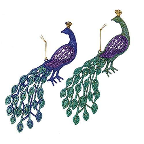 """Kurt Adler 4.5"""" Peacock Ornament Set"""