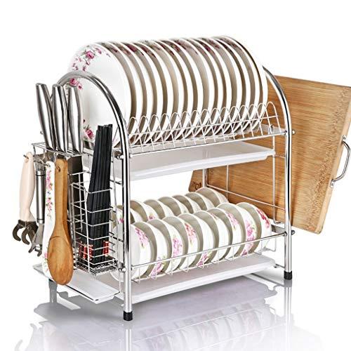 WXJLYZRCXK Organizador de Alenamiento de Cocina 304 de Acero Inoxidable de Doble Capa, Estante para Cuenco, Estante de Drenaje, Suministros para Estantes de Cocina, Palillos para Tazón, M para Platos