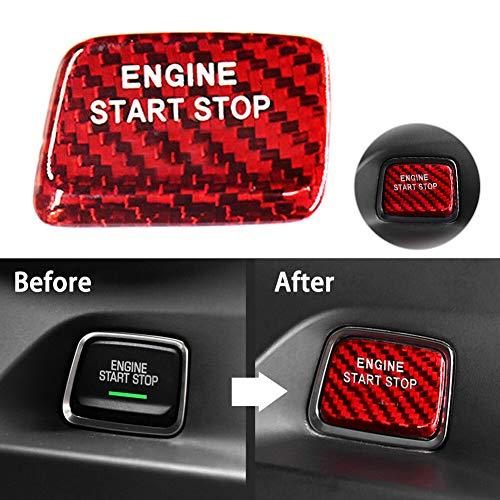 znwiem Auto Motor Start Stop Taste Abdeckung Zierleiste für Corvette C7 Carbon Keyless Go Zündung Aufkleber Dekor