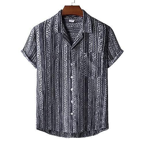 T-Shirt Hombre Transpirable con Cuello En V Estampado Moda Hombres Shirt Ocio Bolsillos Verano Botón Tapeta Manga Corta Hombres Shirt Playa Personalidad Hawaii Hombres Shirt I-XH42 M