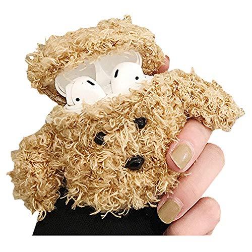 SGVAHY flauschige Hülle, kompatibel mit AirPods Pro, süßes Bär, weiches Fell, Kawaii Fun Cool Mini AirPods Cover Case mit Schlüsselanhänger Wireless Charging Box AirPods Pro, Teddy Khaki