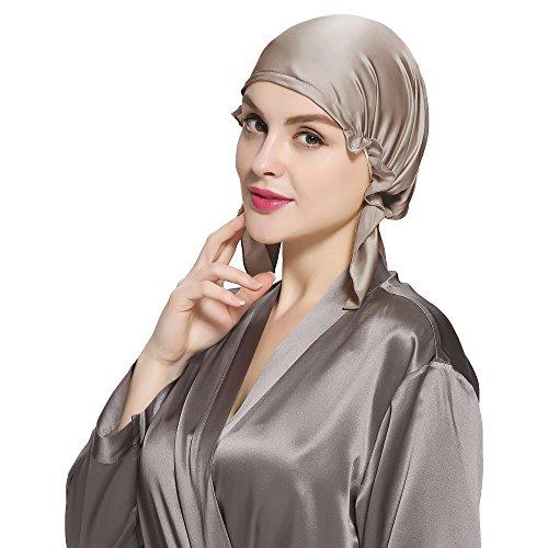 LilySilk LilySilk Koreanische Still 100% Seide Schlafmütze Kopfbedeckung (Gr.1 Kopfumfang:58-94cm, Kaffee) Verpackung MEHRWEG