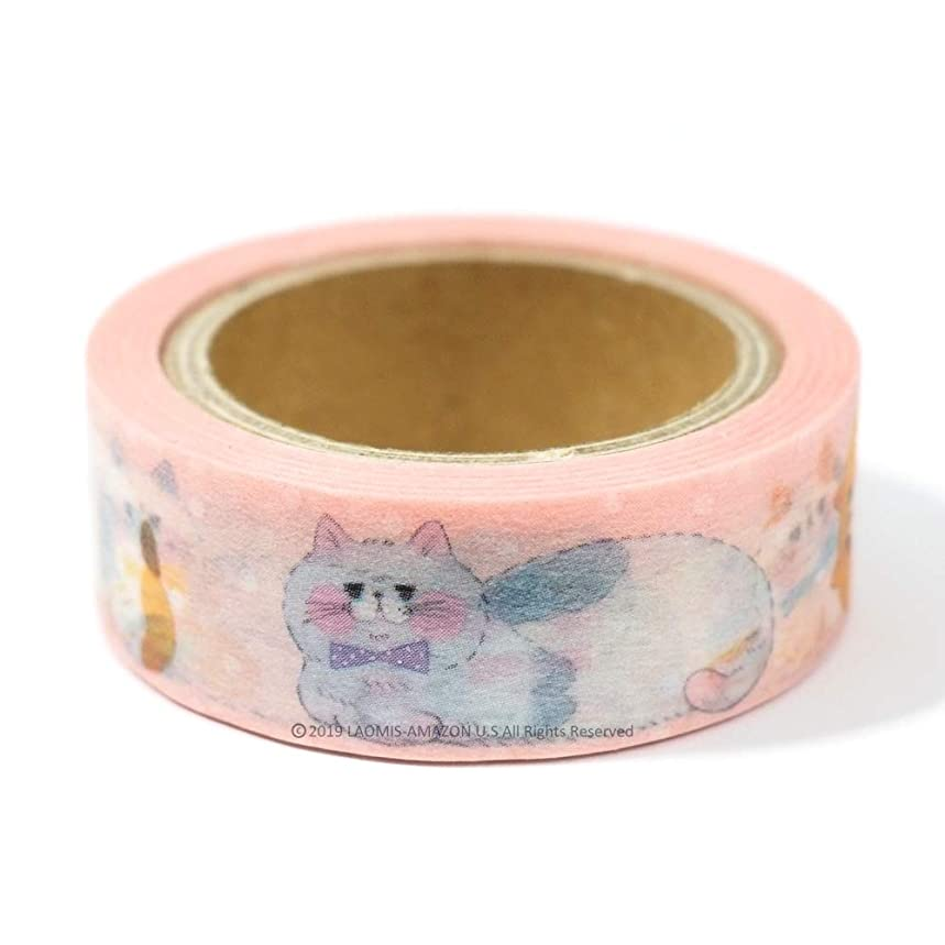 Papier Platz Japanese Washi Masking Paper Tape/Yoko/Bears/Colorful Cats/Cats/Funny Cats (Pink Dots Cats [ 37-658 ])