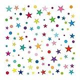 decalmile Arco Iris Polca Punto y Estrella Pegatinas de Pared Cuarto de Niños Pared Decoración Extraíble Guardería Infantil Dormitorio para Niños Cuarto de Jugar Mural (1 Pack)