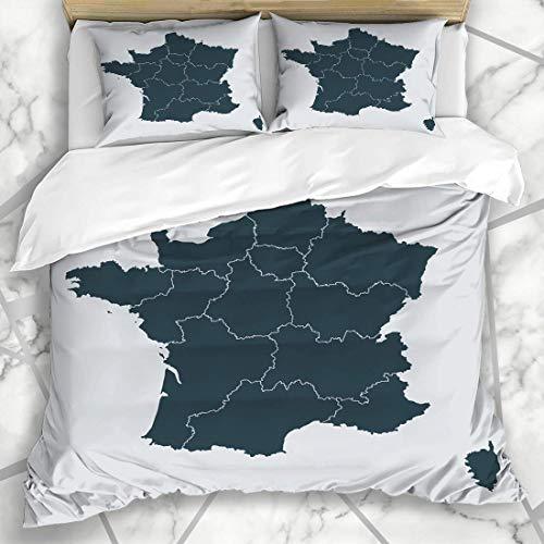 Conjuntos de funda nórdica Ciudad Córcega área de París Mapa detallado de Francia Región Ai Contorno norte en color gris Nación abstracta Microfibra suave Dormitorio decorativo con 2 fundas de almohad