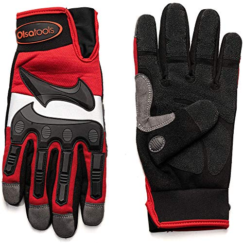 Olsa Tools Mechanic Gloves with TPR Knuckles (S, M, L, XL, XXL)   Mechanics Gloves   Professional Quality Synthetic Leather Gloves   PVC Leather Palm   Oil, Water Resistant Work Glove   Impact Gloves