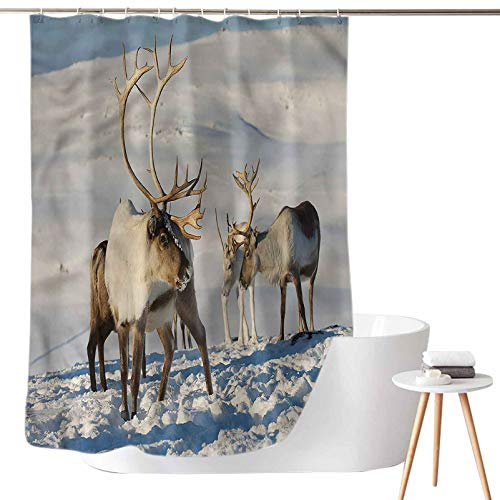 Dasnh Shower Curtains Fabric Gray Reindeers Norway Caribou W72 x L78 Waterproof & Washable
