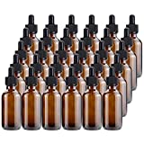 Kingrol 30 Pack Amber Glass Bottles with Glass Eye Dropper, 2 oz Dropper Bottles for Essential Oils, Perfumes, Aromatherapy, Chemistry Lab Chemicals