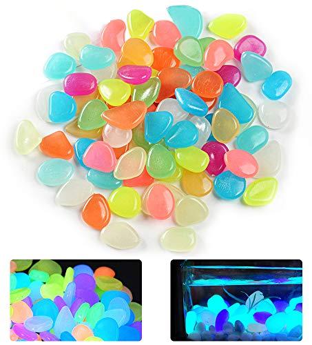 No branded Elinala Leuchtsteine, Leuchtkiesel, 200 PCS KÜNstliche Kieselsteine Leuchten im Dunkeln für Außen-, Gartenhof-, Gehweg- und Aquariumdekoration (Farbe)