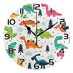 Oreayn Cute Dinosaurs for Kids Wall Clock for Home Office Bedroom Living Room Decor Non Ticking Colorful