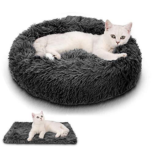 Wuudi Katzenbett niedliches Tierbett, rutschfestes weiches rundes Hundesofabett, 2 PCS weiches kleines Hundebett und Decke
