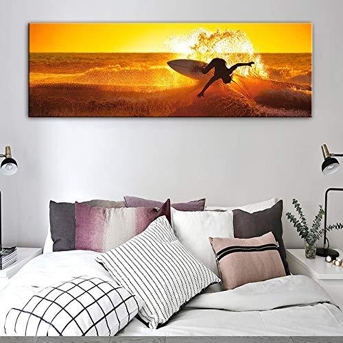 wZUN Póster de Pintura de Lienzo de Olas de Surf en la Pared e impresión de Paisaje de Puesta de Sol Vista al mar Imagen de Arte de Pared para Sala de Estar decoración del hogar 60x180 Sin Marco