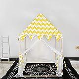 Kibten Raya amarilla grande Niños de madera Casa de juegos Clásico Lienzo de algodón Niños Jugar Tienda de campaña Niño Tienda de carpa Niñas Princesa Castle House Juego de bebés Habitación de juguete