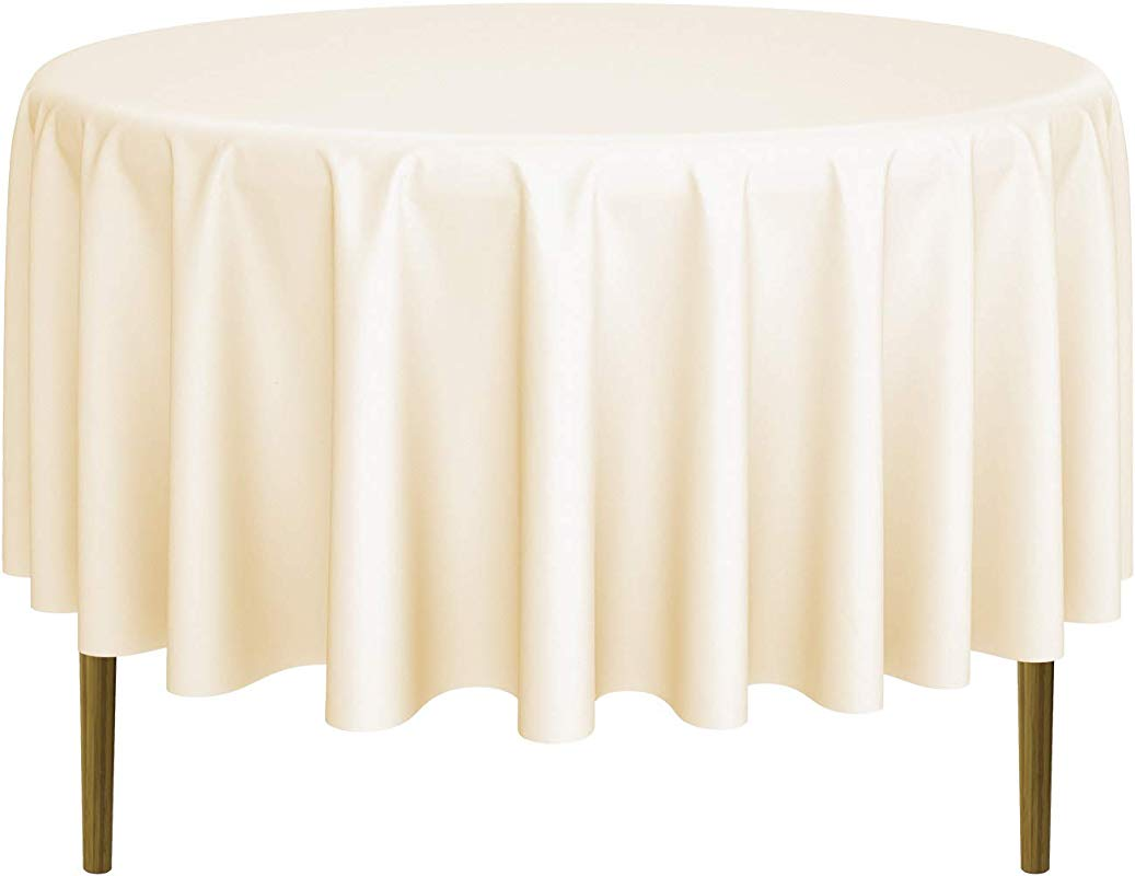 Lann S Linens 90 Round Premium Tablecloth For Wedding Banquet Restaurant Polyester Fabric Table Cloth Ivory