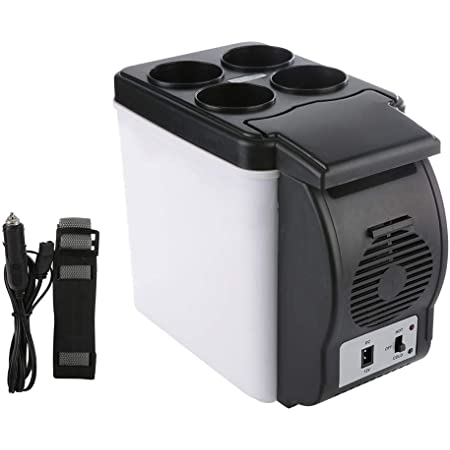 Yencoly Automotive Mini Refrigerator, 6L 12V Compact Travel Cooler/Warmer, Portable Electric Fridge for Car, Truck and Home Dorm