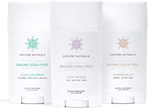 Explore Naturals Baking Soda Free Deodorant 3-Pack (Cool Cucumber, Lilac Bloom, Bamboo Bliss) - Aluminum-Free, For Sensitive Skin - Paraben, Phthalate & Cruelty Free, Made in USA