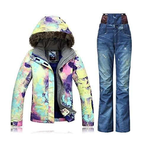 SDCVRE Skianzug Winter Berg SkianzugSkianzug Damen Schneeset Veste Ski Snowboard Jacke Damen Jeans Skihose, C1, M