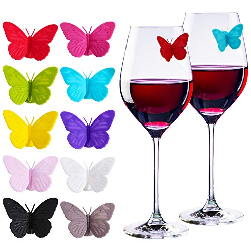 20 Pieces Wine Glass Markers, 3D Drink Glass Makers, Drink Charms Multi-colored Butterfly Tags with Magnetic Silicon for Guests, Hostess Gift, Dinner Parties