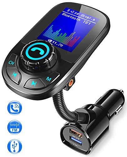 Bovon Transmisor FM Bluetooth Coche, Bluetooth Adaptador Inalámbrico QC3.0 para Coche con Manos Libres y 1.8'' Pantalla LCD, Reproductor MP3 Coche Soporte Entrada/Salida Auxiliar y Tarjeta SD
