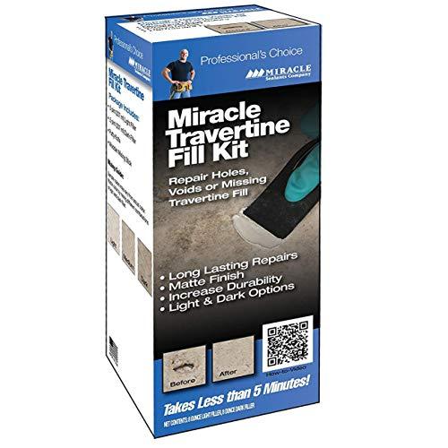 Miracle Travertine / Limestone Chip & Crack Fill Repair Kit w/ Light & Dark Custom Colors 8oz. Dark Filler & 8oz. Light Filler