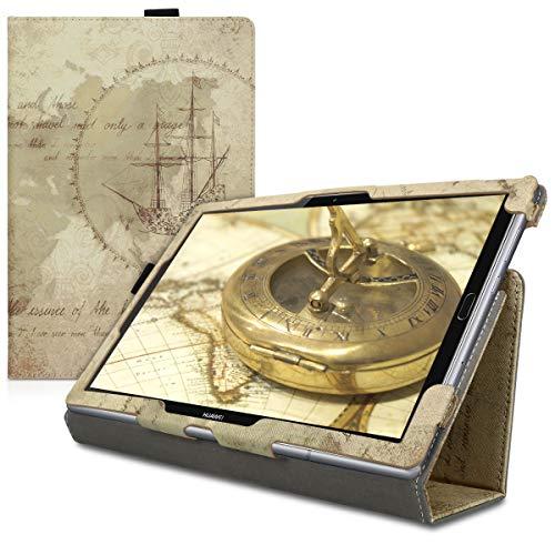 kwmobile Schutzhülle kompatibel mit Huawei MediaPad M5 10 / M5 10 (Pro) - Hülle Slim - Tablet Cover Case mit Ständer Travel Vintage Braun Hellbraun