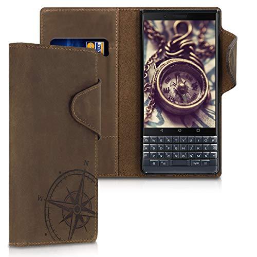 kalibri Wallet Hülle kompatibel mit BlackBerry KEYtwo LE (Key2 LE) - Hülle Leder - Handy Cover Handyhülle Kompass Vintage Braun