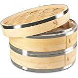 ZHIRCEKE Vaporizador de bambú, 2 vaporizador de bambú Animal con Tapa, Accesorio de Vapor de bambú con Tiras de Acero Inoxidable para arroz, Dim Sum, Verduras, Carne