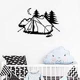 guijiumai Tienda Camping Pegatinas de Pared para Habitaciones de niños Vinilo Diseño Mural Decoración para el hogar Arte Naturaleza Resto Vacaciones Creativo Pared extraíble L 8 81cmx56cm