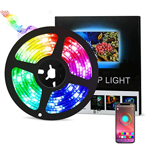 【APP Steuerbar】AMIR LED Streifen, 2M Bluetooth LED Strip, Musik LED Controller, 5050 SMD LED Lichtband, Wasserdicht IP65, LED TV Hintergrundbeleuchtung für TV, PC Bildschirm, Party und Schlafzimmer