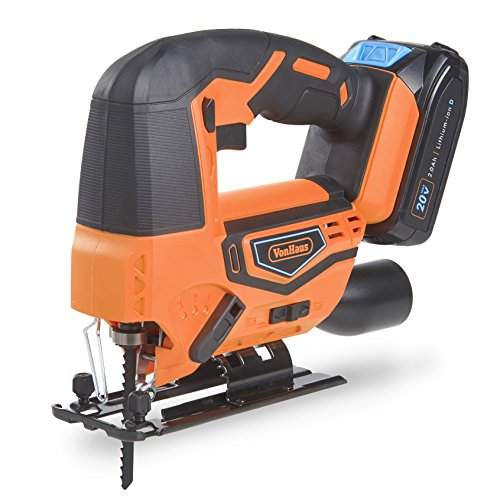 VonHaus Cordless Jigsaw Saw Tool with 2.0Ah Li-ion 20V MAX Battery, Charger, 4 x T-Shank Blades - Includes 3 Stage Pendulum Action, Tool-Less Blade Change & Dust Extractor Port