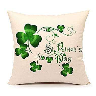 St. Patricks Day Green Home Decor Throw Pillow Case Cushion Cover 18 x 18 Inch Cotton Linen(Saint Patricks Lucky Clove)