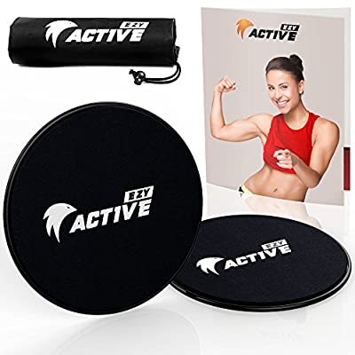 EZY ACTIVE- Core Sliders Exercise, 2 Gliding Discs, ULTIMATE Core Trainer for All Fitness Levels,Total Body Workout Equipment, BUNDLE DEAL