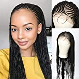 """Beauart 28"""" 100% Handmade 13X6"""" Swiss Lace Front Box Braided Wigs with Baby Hair for Black Women Deep Side Parting Lightweight Japan-made Synthetic Cornrow Twist Braids Wigs"""