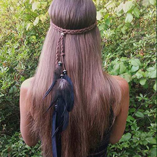 Runmi Boho-Feder-Stirnband, Hippie-Stil, indischer Kopfschmuck, 1920er-Jahre-Feder-Kopfkette, Haarteil, Schmuck für Frauen und Mädchen (B)